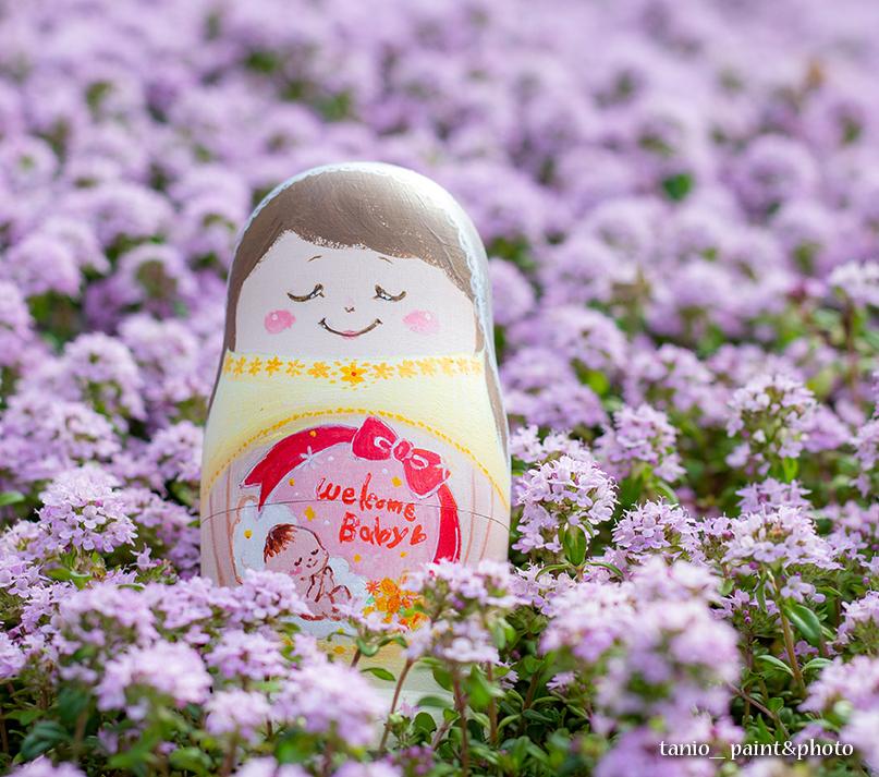 ベリーペイントマトリョーシカとタイムの花